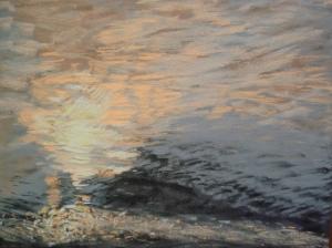 Miroitement de l'eau au crépuscule